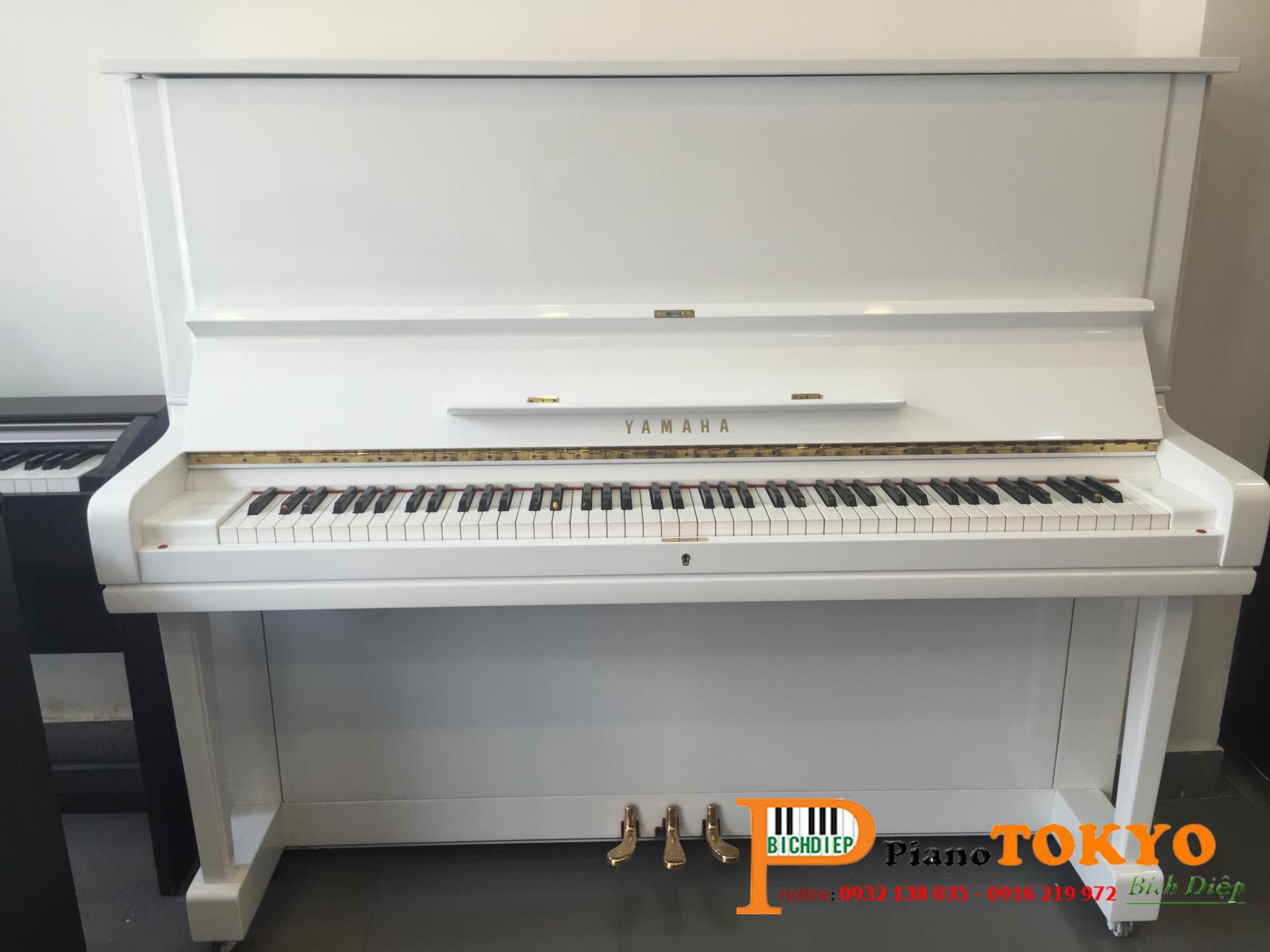 piano yamaha u3e màu trắng